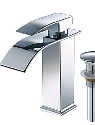 cheap -Bathroom Sink Faucet - Waterfall Widespread Chrome Centerset Single Handle One Hole