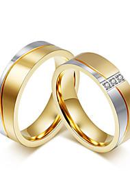 preiswerte -Paar Kubikzirkonia Kubikzirkonia Eheringe - Kreisförmig Elegant / Modisch / Simple Style Gold Ring Für Hochzeit / Jahrestag / Party