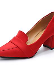 preiswerte -Damen High Heels Pumps Wildleder Sommer Normal Kleid Walking Pumps Blockabsatz Schwarz Grau Rot Blau 12 cm & mehr