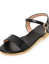 cheap -Women's Shoes Leatherette PU Summer Fall Comfort Novelty Sandals Walking Shoes Flat Heel Peep Toe Buckle for Dress Party & Evening Gold