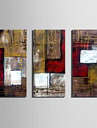 preiswerte -Handgemalte Abstrakt Vertikal,Retro Drei Paneele Leinwand Hang-Ölgemälde For Haus Dekoration