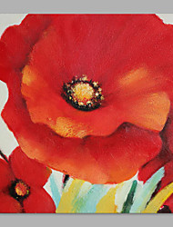 cheap -IARTS® Hand Painted Abstract Deep Red Poppy Floral Oil Painting with Stretched Frame Picture For Home Decoration Ready To Hang