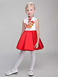 cheap -Ball Gown Short / Mini Flower Girl Dress - Satin Chiffon Sleeveless High Neck with Embroidery by Embroidered Bridal