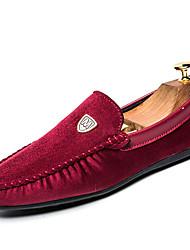 Men's Loafers & Slip-Ons Light Soles Comfort Spring Fall PU Casual Office & Career Flat Heel Black Ruby Blue Under 1in