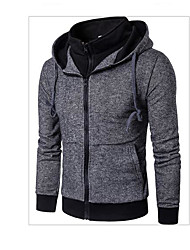 cheap -Men's Active Jacket-Solid Colored,Patchwork Hooded
