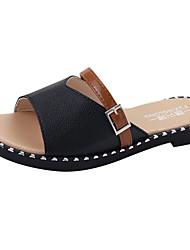 Women's Flats Light Soles Comfort Summer PU Walking Shoes Casual Dress Low Heel Block Heel White Black Flat