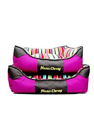 cheap -Dog Bed Pet Baskets Stripe Warm Soft Washable Orange Purple For Pets
