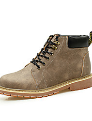 cheap -Men's Boots Comfort Combat Boots Spring Fall Leather PU Casual Lace-up Flat Heel Black Coffee Light Brown Flat
