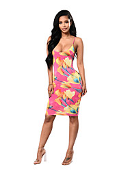 cheap -Women's Club Beach Sexy Boho Bodycon Dress,Floral Strap Knee-length Sleeveless Polyester Spandex Summer Mid Rise Micro-elastic Thin