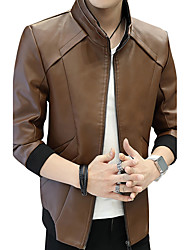 Veste de cuir Homme,Couleur Pleine Mode CuirAutre Quotidien Décontracté Vêtements de Plein Air Vêtements d'entreprise Sortie Décontracté
