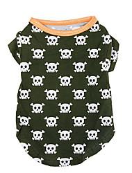 economico -Cane T-shirt Abbigliamento per cani Casual Teschi Verde cacciatore Costume Per animali domestici