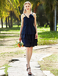 A-Line Spaghetti Straps Knee Length Chiffon Bridesmaid Dress with Flower(s) Pleats Tassel(s) by LAN TING BRIDE®