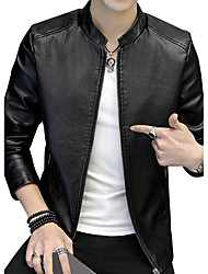 cheap -Men's Club Plus Size Jacket - Solid Leather Fashion Stand