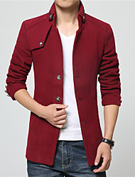 Men's Daily Simple Casual Winter Fall Trench Coat,Solid Stand Long Sleeve Regular Nylon