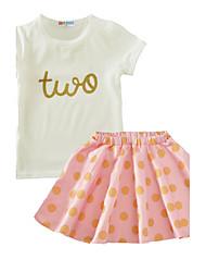 Dívčí Bavlna Puntíky Léto Sady oblečení, Krátký rukáv Světlá růžová Světle zelená