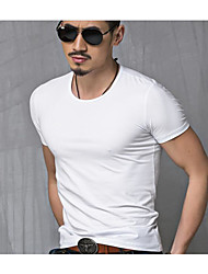 cheap -Men's Daily Plus Size Casual Summer T-shirt,Solid Round Neck Short Sleeves Cotton