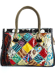 Women Bags All Seasons Cowhide Tote Pattern / Print Plaid Split Joint for Casual Rainbow