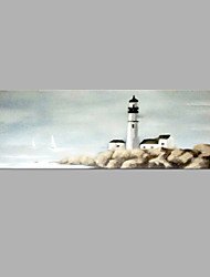 cheap -IARTS® Hand Painted Abstract Oil Painting Vintage Light House Seaview Painting with Stretched Frame For Home Decoration Ready To Hang