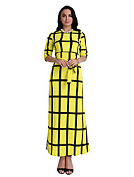 cheap -Women's Daily Holiday Going out Club Vintage Sexy Boho Bodycon Sheath Dress,Plaid Round Neck Maxi Short Sleeves Polyester Summer Fall