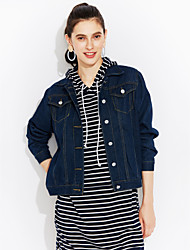 cheap -Women's Street chic Cotton Denim Jacket-Solid Colored Shirt Collar / Spring