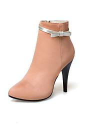 baratos -Mulheres Sapatos Courino Outono Inverno Conforto Botas Caminhada Salto Agulha Dedo Apontado Botas Curtas / Ankle Presilha para Casual