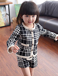 cheap -Girls' Check Patchwork Sets,Rayon Spring Fall Long Sleeve Clothing Set