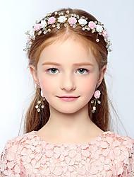 Girl's Headband Colorblock Flowers Decorative Pearl Hair Accessory