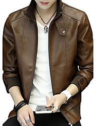 Veste de cuir Homme,Couleur Pleine Mode Cuir Sortie Décontracté / Quotidien Soirée Grandes TaillesTraditionnel/Vintage Grande occasion