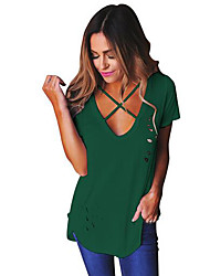 cheap -Women's Daily Going out Casual Sexy Summer T-shirt,Solid Round Neck Short Sleeves Polyester Medium