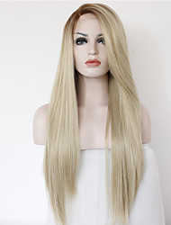 cheap -Synthetic Lace Front Wig Straight Ombre Hair Brown Blonde Women's Lace Front Natural Wigs Long Synthetic Hair