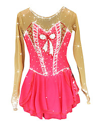 cheap -Figure Skating Dress Women's Girls' Ice Skating Dress Pale Pink Spandex Rhinestone High Elasticity Performance Skating Wear Handmade