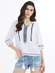 Women's Casual/Daily Vintage Simple Cute Spring Summer T-shirt,Patterned Embellished&Embroidered Round Neck 3/4 Length Sleeve Linen Medium