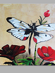 cheap -Oil Painting Hand Painted - Floral / Botanical Artistic Canvas