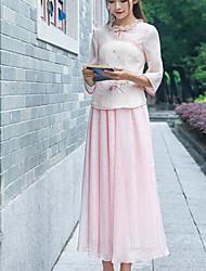 Camicia Gonna Completi abbigliamento Da donna Per uscire Casual Da cerimonia Vintage Estate,Tinta unita Fantasia floreale RotondaManiche