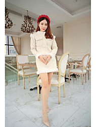 Women's Casual/Daily Simple Winter Sweater Dress Suits,Solid Round Neck Long Sleeve Micro-elastic