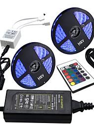 Недорогие -hkv® 10m RGB светодиодные ленты 5050 гибкие светодиодные ленты водонепроницаемая лента диодная лента RGB полосы DC12V 44 ключа дистанционного управления 5a блок питания
