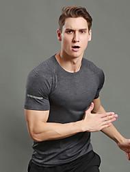WOSAWE Hombre Camiseta de running con shorts Manga Corta Gimnasio, Correr & Yoga Secado rápido Transpirable Bandas Reflectantes Sudadera