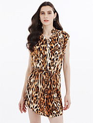 cheap -Women's Shift Chiffon Dress - Leopard Print, Leopard Print