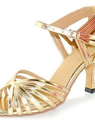 Для женщин Латина Искусственная кожа Сандалии Концертная обувь Крест-накрест На шпильке Золотой 7,5 см Персонализируемая