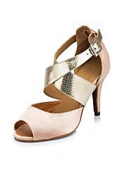 """Women's Latin Synthetic Satin Heels Indoor Animal Print Stiletto Heel Almond 2"""" - 2 3/4"""" 3"""" - 3 3/4"""" Customizable"""
