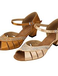 "Women's Latin Silk Sandals Performance Crystals/Rhinestones Cuban Heel Khaki Nude 1"" - 1 3/4"" 2"" - 2 3/4"" Customizable"