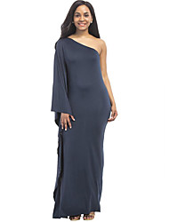 cheap -Women's Going out Boho Loose Trumpet/Mermaid Dress,Solid One Shoulder Maxi Long Sleeves Linen Cotton Blend Spring Summer High Rise