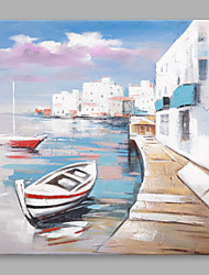 cheap -IARTS®Modern Abstract Coast Town & Sailing Boat Street View Oil Painting On Canvas with Stretched Frame Wall Art For Home Decoration Ready To Hang