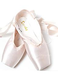 Women's Ballet Satin Flats Full Sole Practice Beginner Professional Indoor Performance Flat Heel Almond Non Customizable