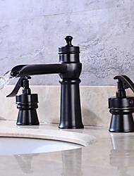 Art déco/Retrò A 3 fori Valvola in ottone Due maniglie Quattro fori for  Bronzo lucidato , Lavandino rubinetto del bagno