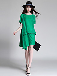 JIANRUYI Women's Casual/Daily Simple Loose DressSolid Round Neck Knee-length Short Sleeve Polyester Summer High Rise Inelastic Thin