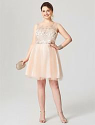 A-Line Fit & Flare Illusion Neckline Knee Length Tulle Cocktail Party Homecoming Dress with Crystal Detailing Pleats by Sarahbridal
