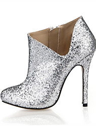 Women's Heels Bootie Spring Fall Synthetic Wedding Party & Evening Dress Silver 4in-4 3/4in