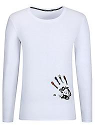billige -Rund hals Herre Bomuld, Trykt mønster Plusstørrelser T-shirt