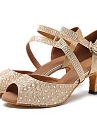 "Women's Latin Net Leatherette Sandals Heels Professional Rhinestone Buckle Customized Heel White Khaki 1"" - 1 3/4"" 2"" - 2 3/4"" 3"" - 3"